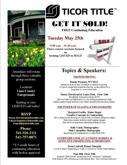 Get It Sold Seminar Albany Oregon