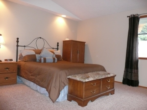 Warm beige carpeting for home selling