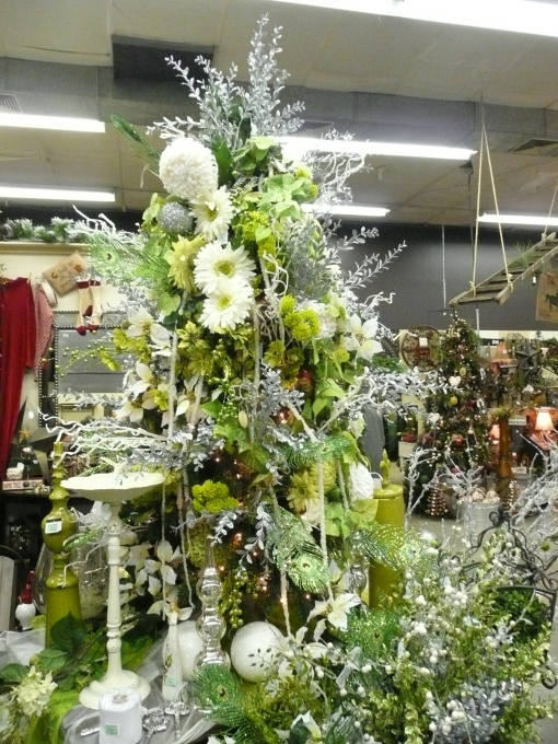 silver and lime green Christmas tree